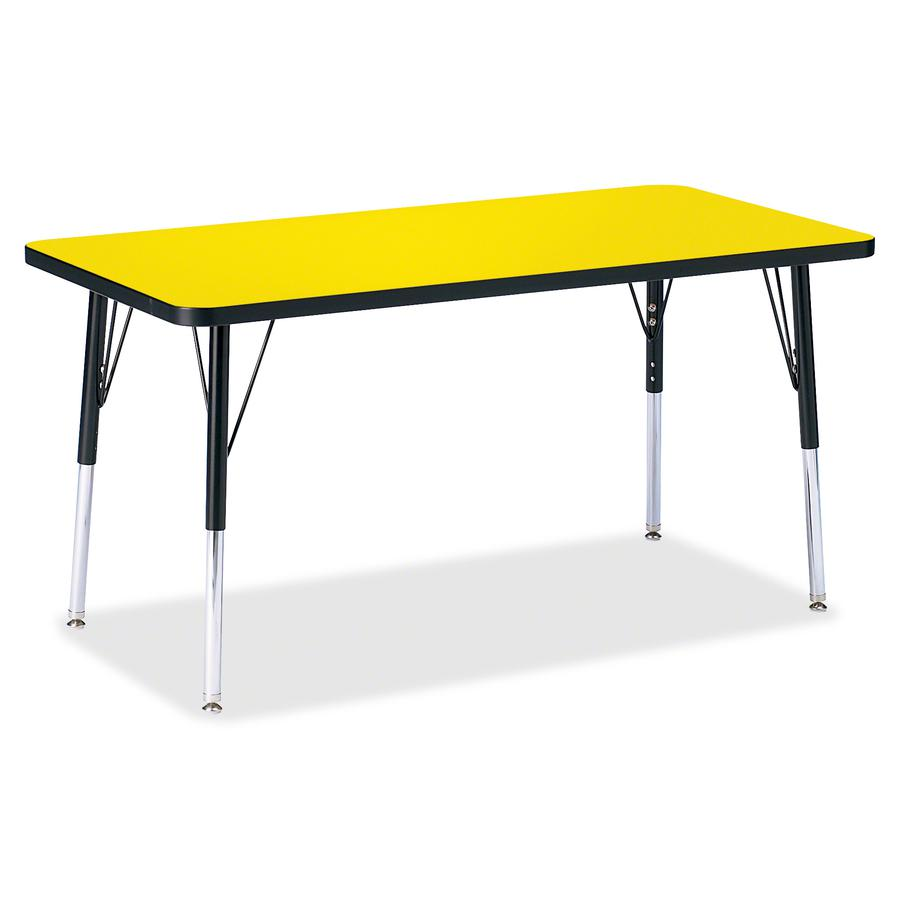 "Berries Adult Height Color Top Rectangle Table - Laminated Rectangle, Yellow Top - Four Leg Base - 4 Legs - 48"" Table Top Length x 24"" Table Top Width x 1.13"" Table Top Thickness - 31"" Height - Assemb. Picture 2"
