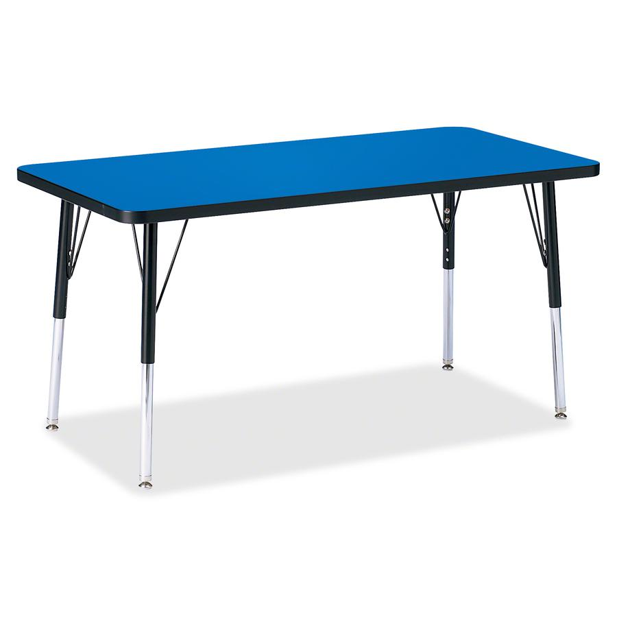 """Berries Adult Height Color Top Rectangle Table - Blue Rectangle, Laminated Top - Four Leg Base - 4 Legs - 48"""" Table Top Length x 24"""" Table Top Width x 1.13"""" Table Top Thickness - 31"""" Height - Assembly. Picture 2"""