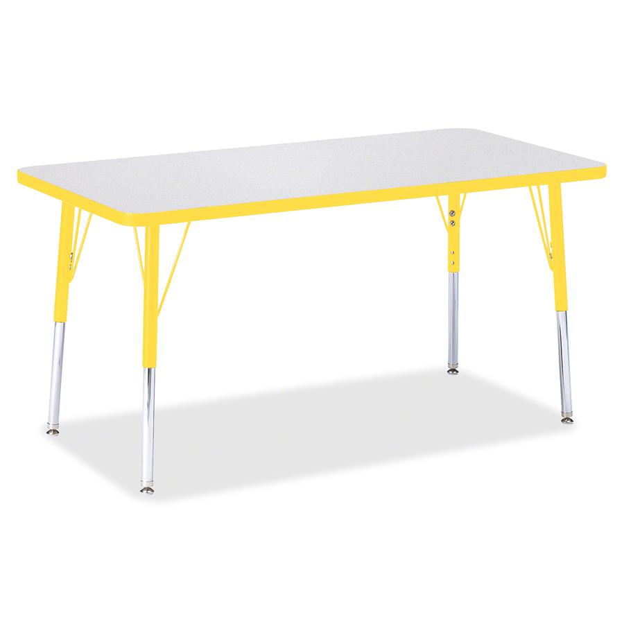"""Berries Adult Height Color Edge Rectangle Table - Laminated Rectangle, Yellow Top - Four Leg Base - 4 Legs - 48"""" Table Top Length x 24"""" Table Top Width x 1.13"""" Table Top Thickness - 31"""" Height - Assem. Picture 2"""