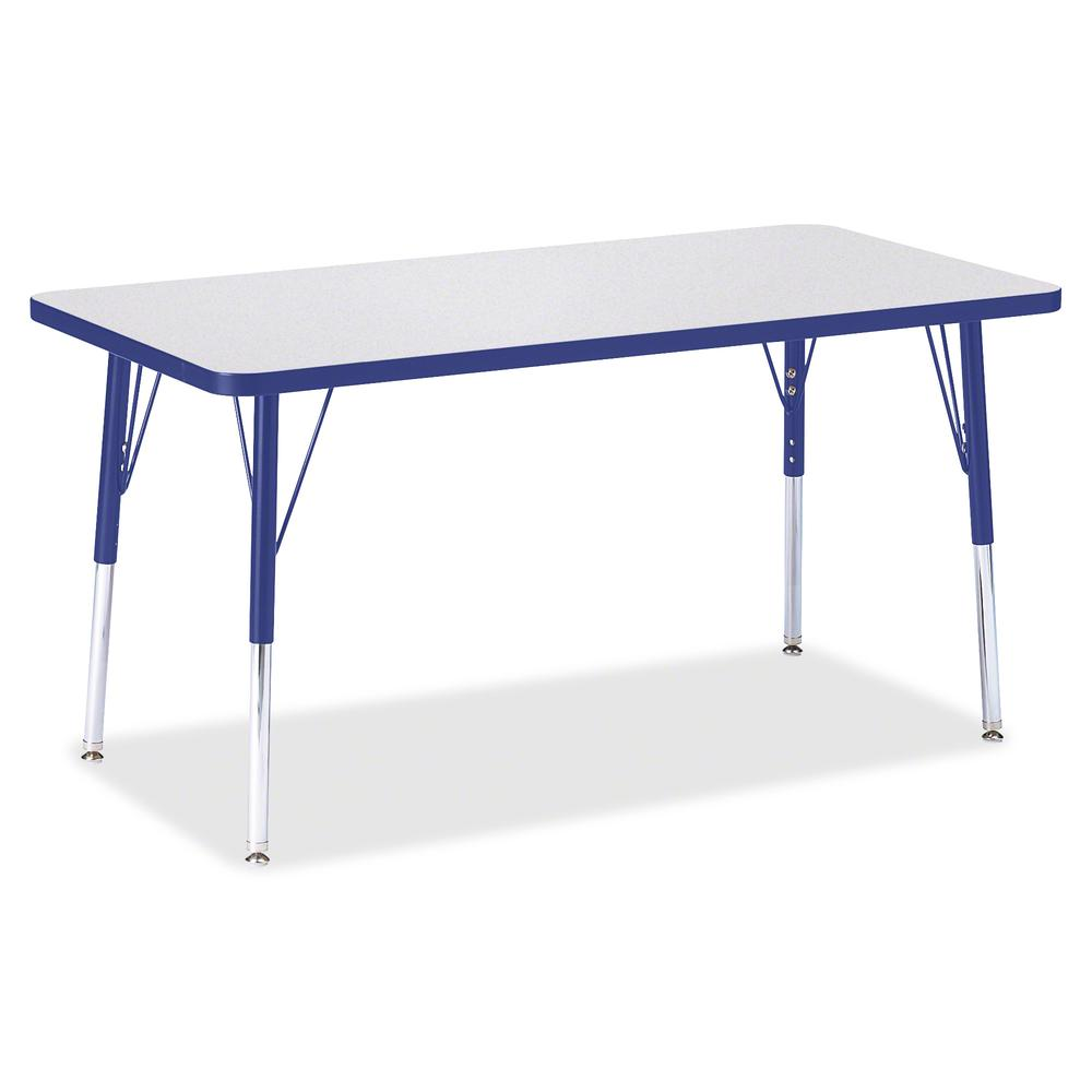 "Berries Adult Height Color Edge Rectangle Table - Gray Rectangle, Laminated Top - Four Leg Base - 4 Legs - 48"" Table Top Length x 24"" Table Top Width x 1.13"" Table Top Thickness - 31"" Height - Assembl. Picture 2"