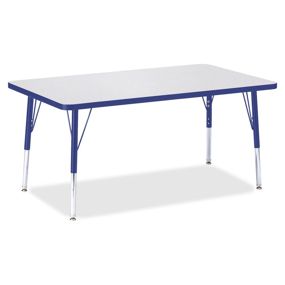 "Jonti-Craft Berries Elementary Height Gray Top Rectangular Table - Gray Rectangle, Laminated Top - Four Leg Base - 4 Legs - 48"" Table Top Length x 30"" Table Top Width x 1.13"" Table Top Thickness - 24"". Picture 2"