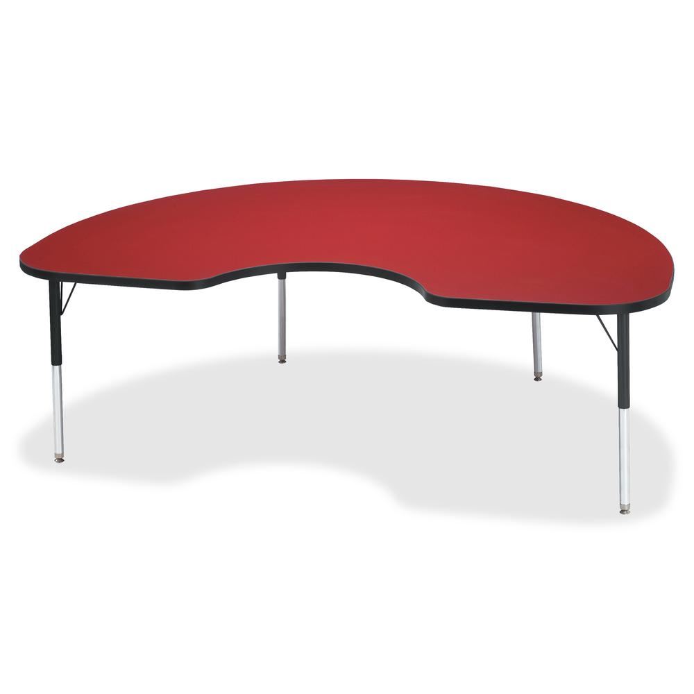 "Berries Elementary Height Color Top Kidney Table - Laminated Kidney-shaped, Red Top - Four Leg Base - 4 Legs - 72"" Table Top Length x 48"" Table Top Width x 1.13"" Table Top Thickness - 24"" Height - Ass. Picture 2"