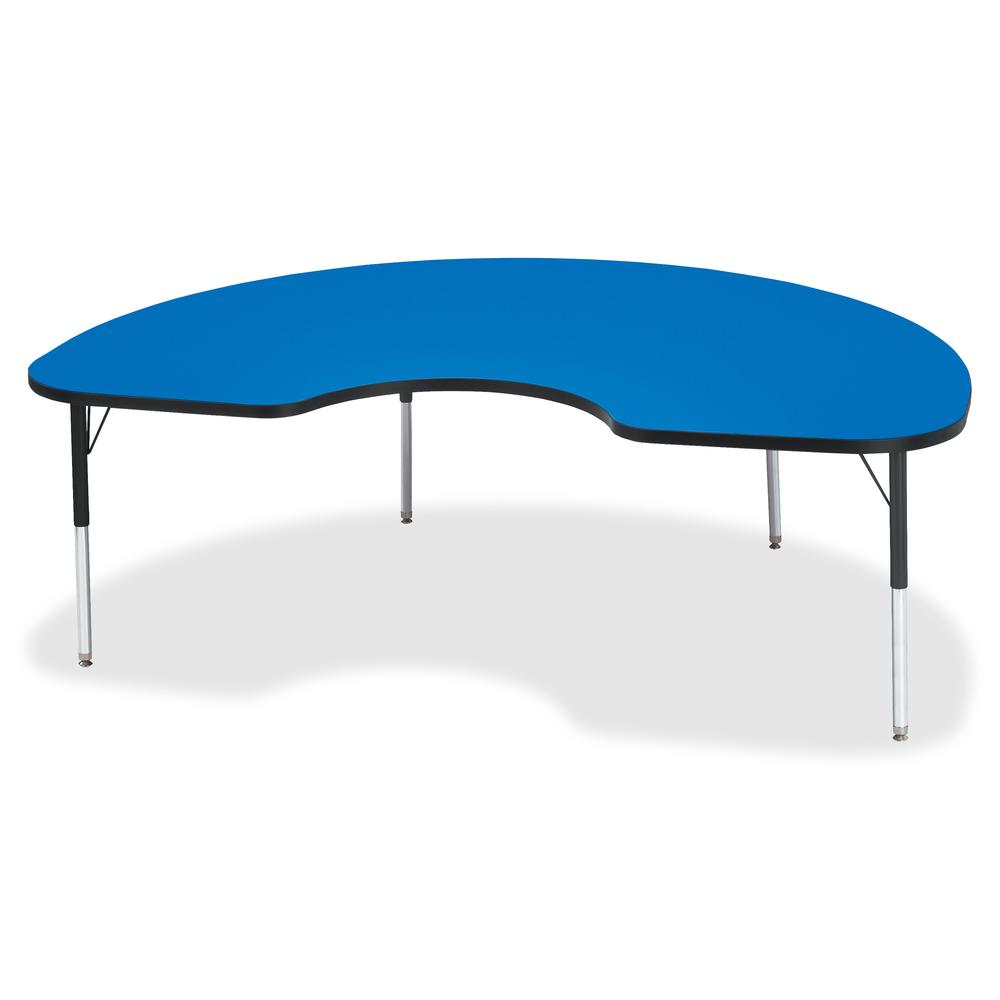 "Berries Elementary Height Color Top Kidney Table - Blue Kidney-shaped, Laminated Top - Four Leg Base - 4 Legs - 72"" Table Top Length x 48"" Table Top Width x 1.13"" Table Top Thickness - 24"" Height - As. Picture 2"