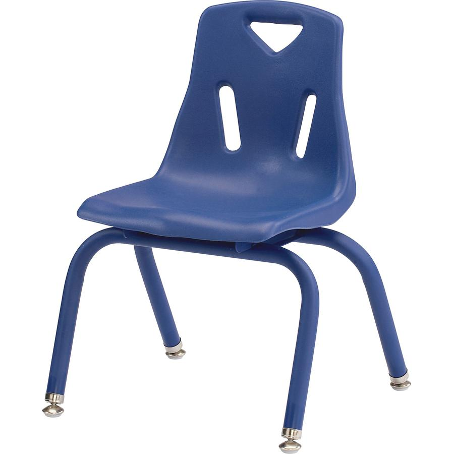 "Jonti-Craft Berries Plastic Chair with Powder Coated Legs - Steel Frame - Four-legged Base - Blue - Polypropylene - 16.5"" Width x 16.5"" Depth x 23.5"" Height - 1 Each. Picture 2"
