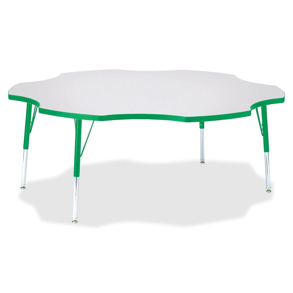 "Jonti-Craft Berries Elementary Height Prism Six-Leaf Table - Green, Laminated Top - Four Leg Base - 4 Legs - 1.13"" Table Top Thickness x 60"" Table Top Diameter - 24"" Height - Assembly Required - Powde. Picture 2"