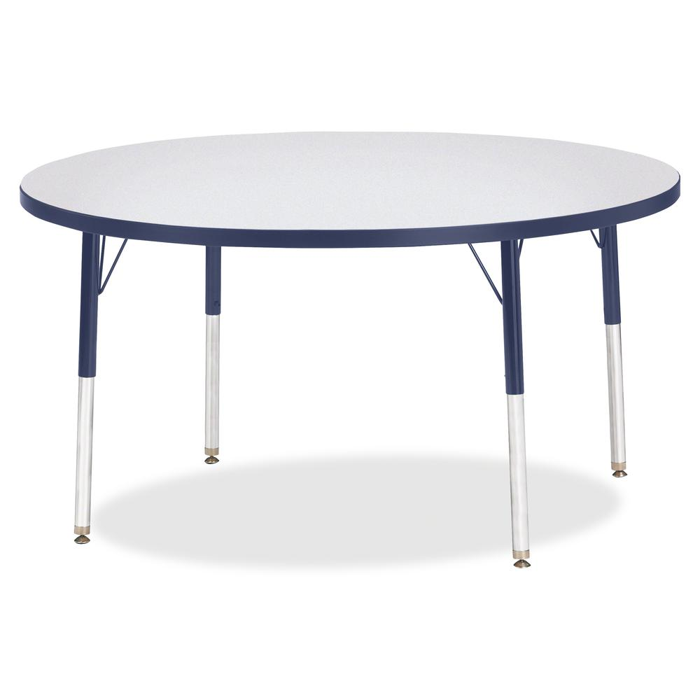 """Berries Adult Height Color Edge Round Table - Laminated Round, Navy Top - Four Leg Base - 4 Legs - 1.13"""" Table Top Thickness x 48"""" Table Top Diameter - 31"""" Height - Assembly Required - Powder Coated. Picture 2"""