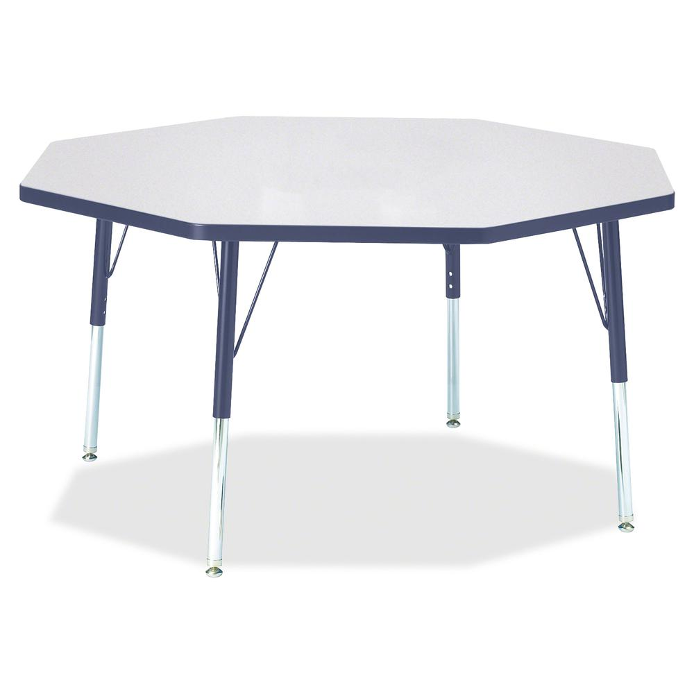 """Berries Elementary Height Color Edge Octagon Table - Gray Octagonal, Laminated Top - Four Leg Base - 4 Legs - 1.13"""" Table Top Thickness x 48"""" Table Top Diameter - 24"""" Height - Assembly Required - Powd. Picture 2"""