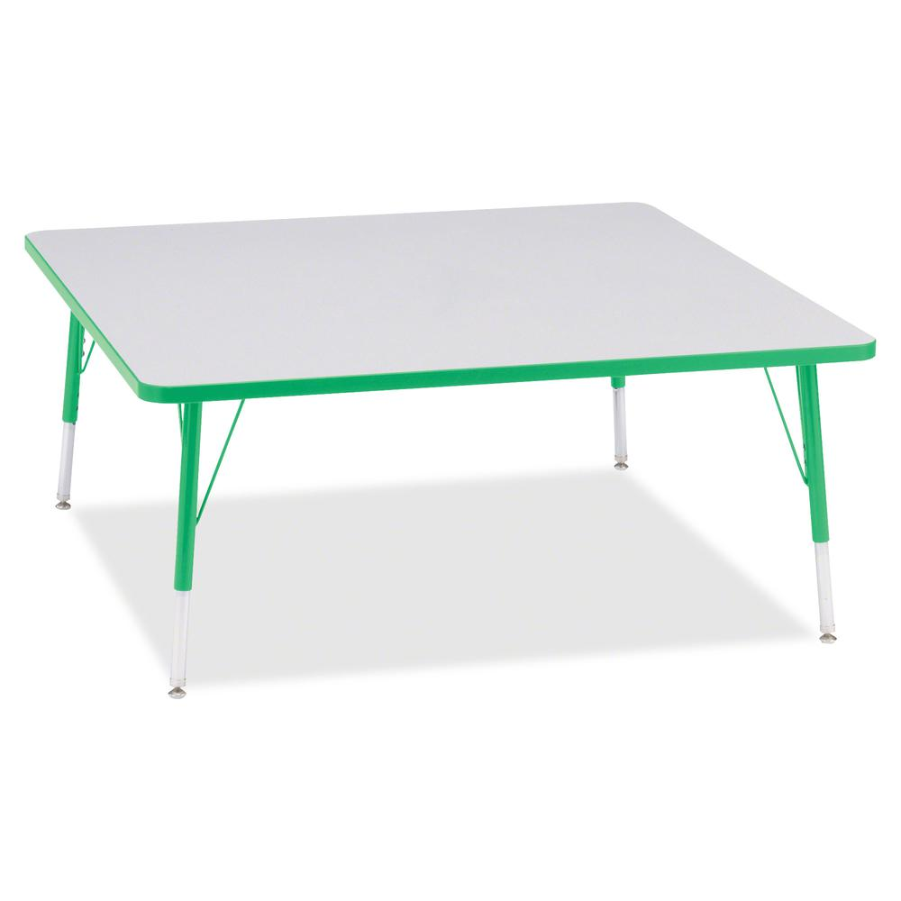 "Berries Elementary Height Color Edge Square Table - Green Square, Laminated Top - Four Leg Base - 4 Legs - 48"" Table Top Length x 48"" Table Top Width x 1.13"" Table Top Thickness - 24"" Height - Assembl. Picture 3"