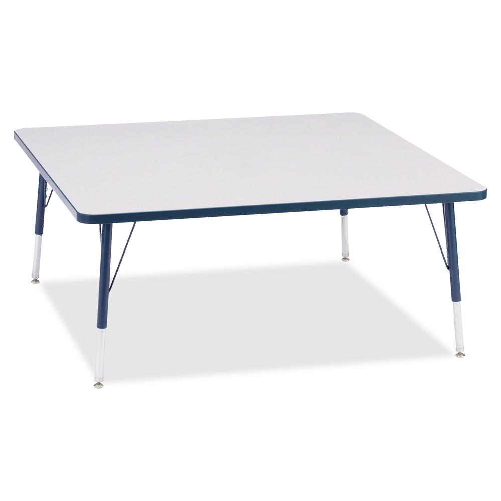 """Berries Elementary Height Color Edge Square Table - Laminated Square, Navy Top - Four Leg Base - 4 Legs - 48"""" Table Top Length x 48"""" Table Top Width x 1.13"""" Table Top Thickness - 24"""" Height - Assembly. Picture 2"""