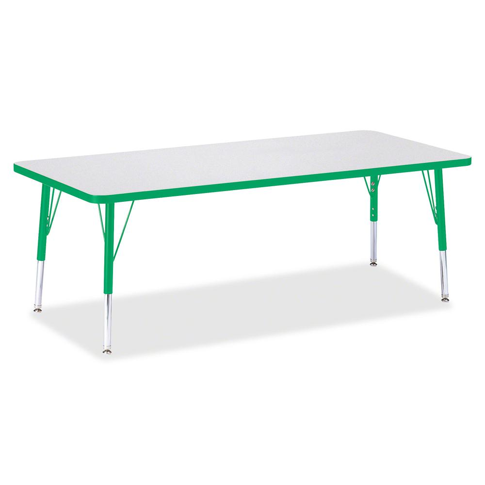 """Berries Toddler Height Prism Edge Rectangle Table - Green Rectangle, Laminated Top - Four Leg Base - 4 Legs - 72"""" Table Top Length x 30"""" Table Top Width x 1.13"""" Table Top Thickness - 15"""" Height - Asse. Picture 2"""