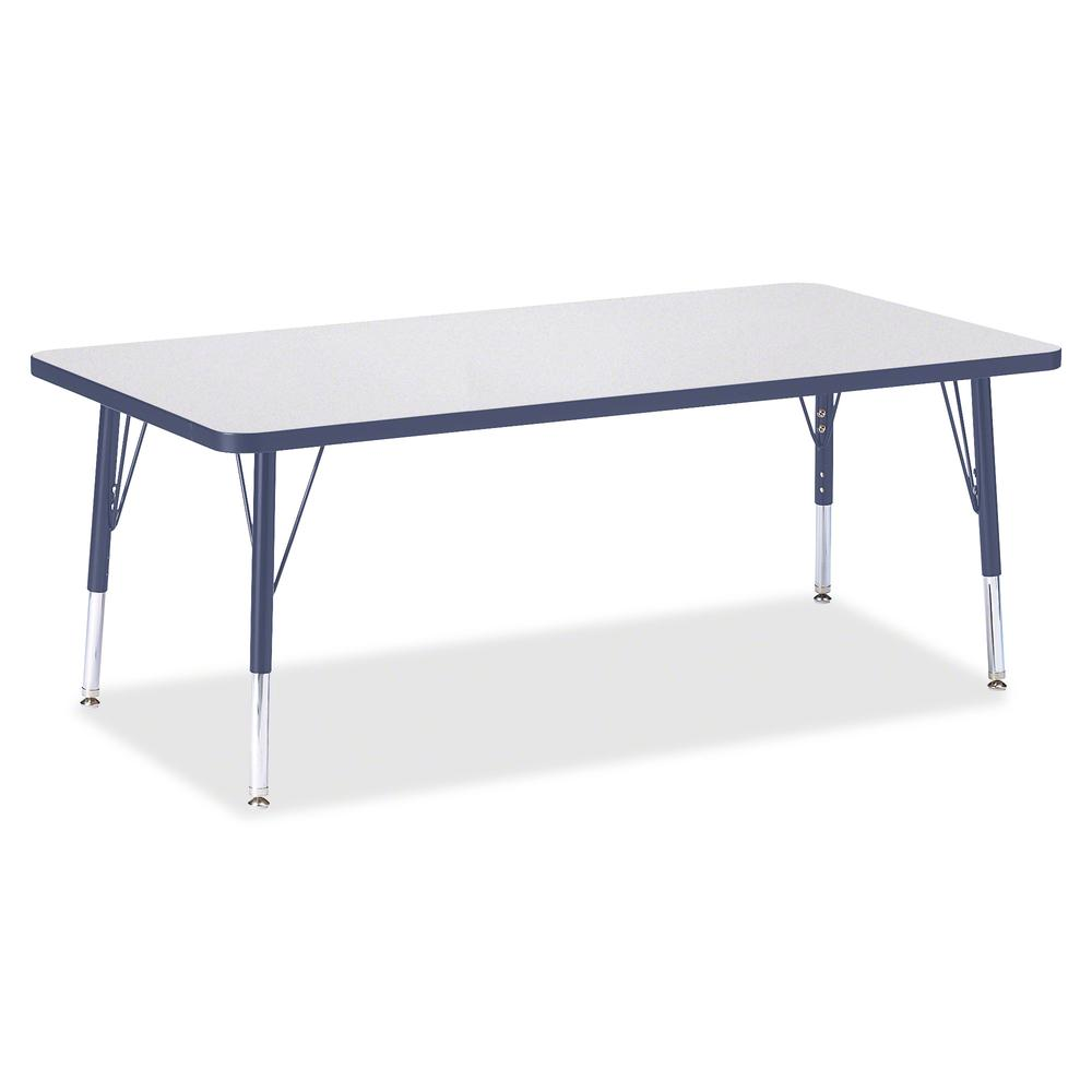 "Berries Toddler Height Prism Edge Rectangle Table - Laminated Rectangle, Navy Top - Four Leg Base - 4 Legs - 60"" Table Top Length x 30"" Table Top Width x 1.13"" Table Top Thickness - 15"" Height - Assem. Picture 2"