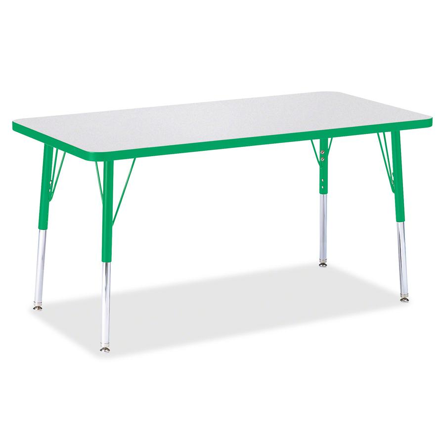 "Berries Adult Height Color Edge Rectangle Table - Green Rectangle, Laminated Top - Four Leg Base - 4 Legs - 48"" Table Top Length x 24"" Table Top Width x 1.13"" Table Top Thickness - 31"" Height - Assemb. Picture 2"