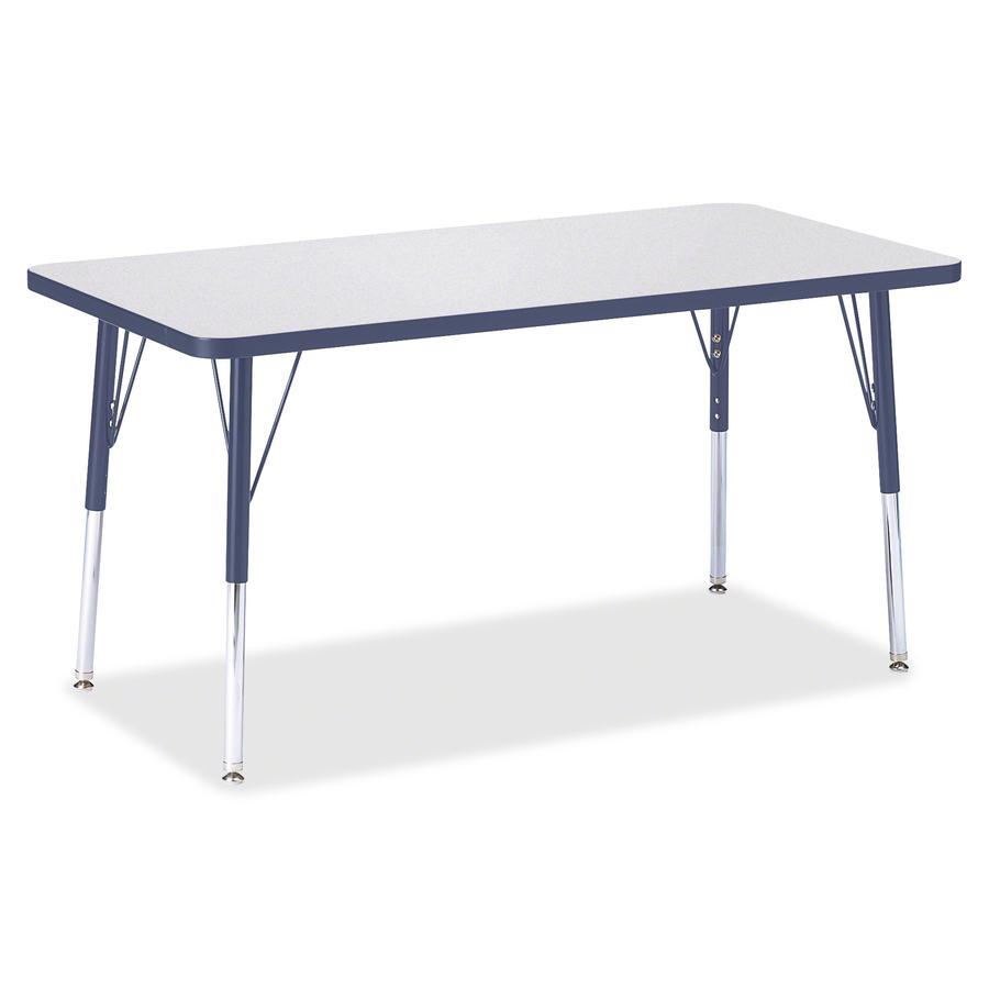 """Berries Adult Height Color Edge Rectangle Table - Laminated Rectangle, Navy Top - Four Leg Base - 4 Legs - 48"""" Table Top Length x 24"""" Table Top Width x 1.13"""" Table Top Thickness - 31"""" Height - Assembl. Picture 3"""