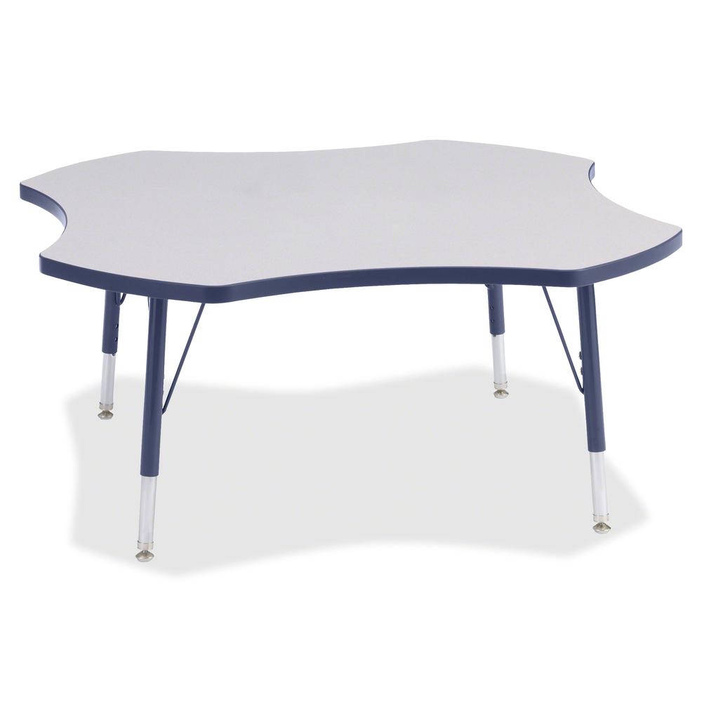 """Berries Prism Four-Leaf Student Table - Laminated, Navy Top - Four Leg Base - 4 Legs - 1.13"""" Table Top Thickness x 48"""" Table Top Diameter - 15"""" Height - Assembly Required - Powder Coated. Picture 2"""