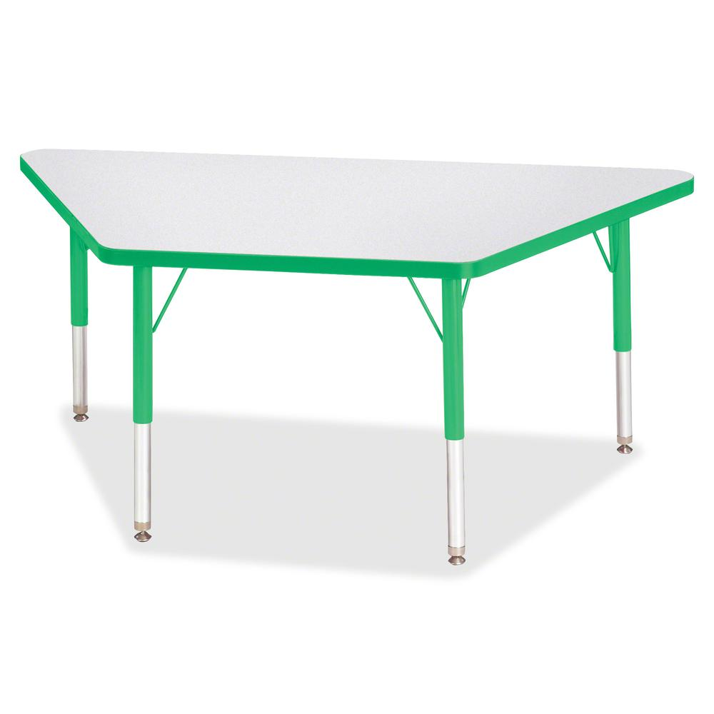 "Berries Toddler-sz Gray Top Trapezoid Table - Green Trapezoid, Laminated Top - Four Leg Base - 4 Legs - 48"" Table Top Length x 24"" Table Top Width x 1.13"" Table Top Thickness - 15"" Height - Assembly R. Picture 2"