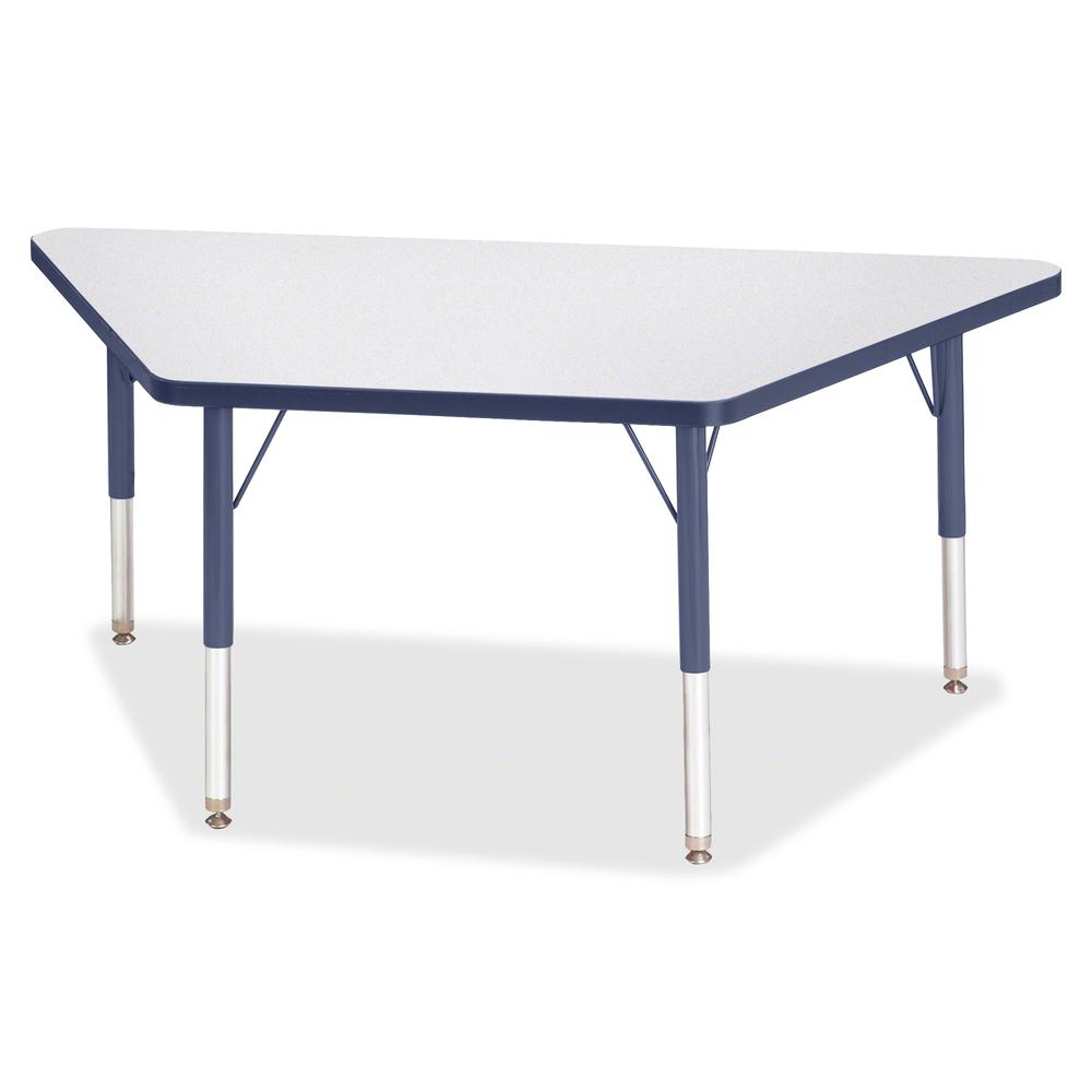 "Jonti-Craft Berries Toddler-size Gray Top Trapezoid Table - Laminated Trapezoid, Navy Top - Four Leg Base - 4 Legs - 48"" Table Top Length x 24"" Table Top Width x 1.13"" Table Top Thickness - 15"" Height. Picture 2"