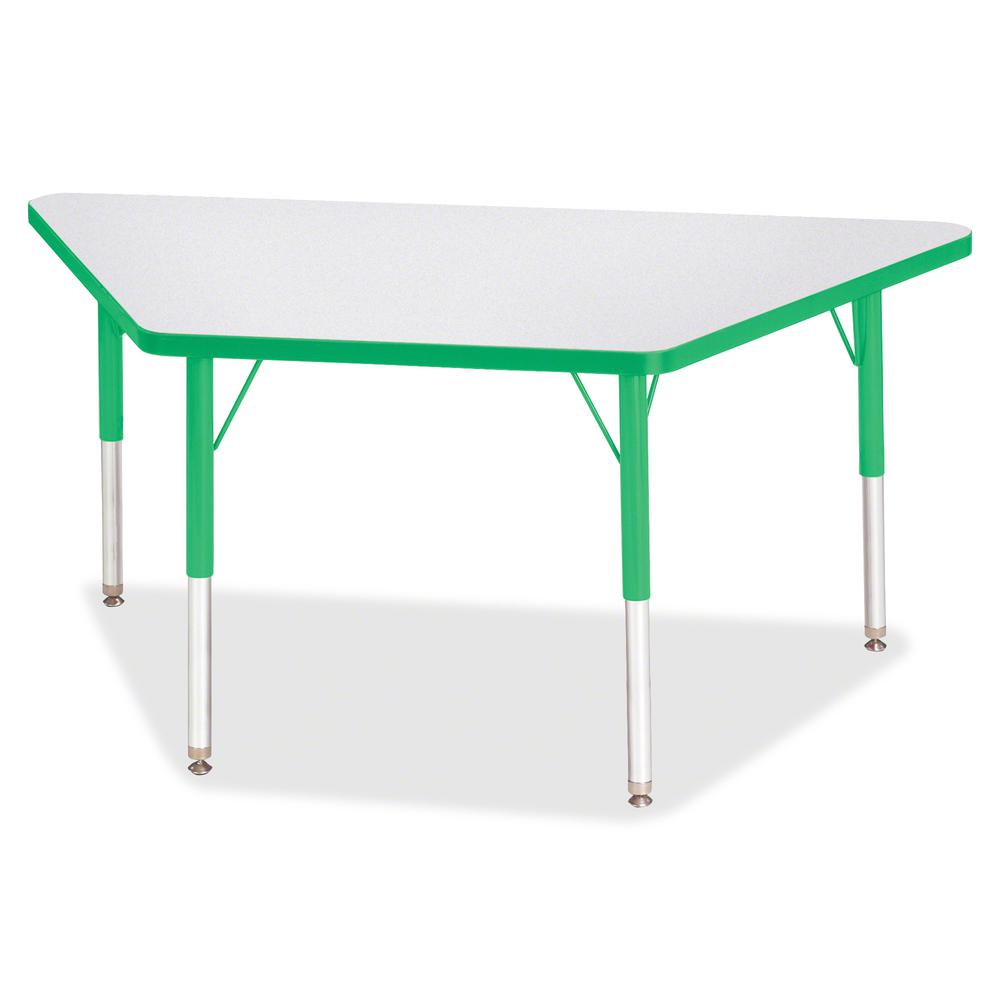 "Berries Elementary Height Prism Edge Trapezoid Table - Green Trapezoid, Laminated Top - Four Leg Base - 4 Legs - 48"" Table Top Length x 24"" Table Top Width x 1.13"" Table Top Thickness - 24"" Height - A. Picture 3"