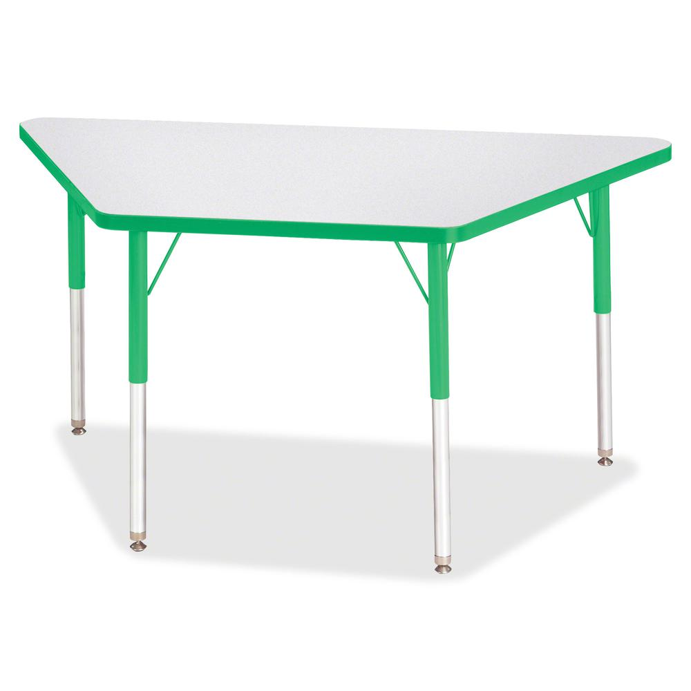"""Berries Adult-Size Gray Laminate Trapezoid Table - Green Trapezoid, Laminated Top - Four Leg Base - 4 Legs - 48"""" Table Top Length x 24"""" Table Top Width x 1.13"""" Table Top Thickness - 31"""" Height - Assem. Picture 3"""