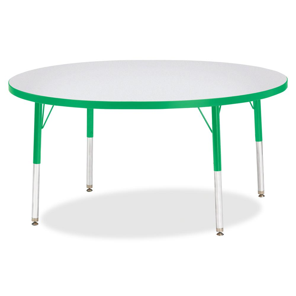"Jonti-Craft Berries Elementary Height Color Edge Round Table - Green Round Top - Four Leg Base - 4 Legs - 1.13"" Table Top Thickness x 48"" Table Top Diameter - 24"" Height - Assembly Required - Freckled. Picture 2"