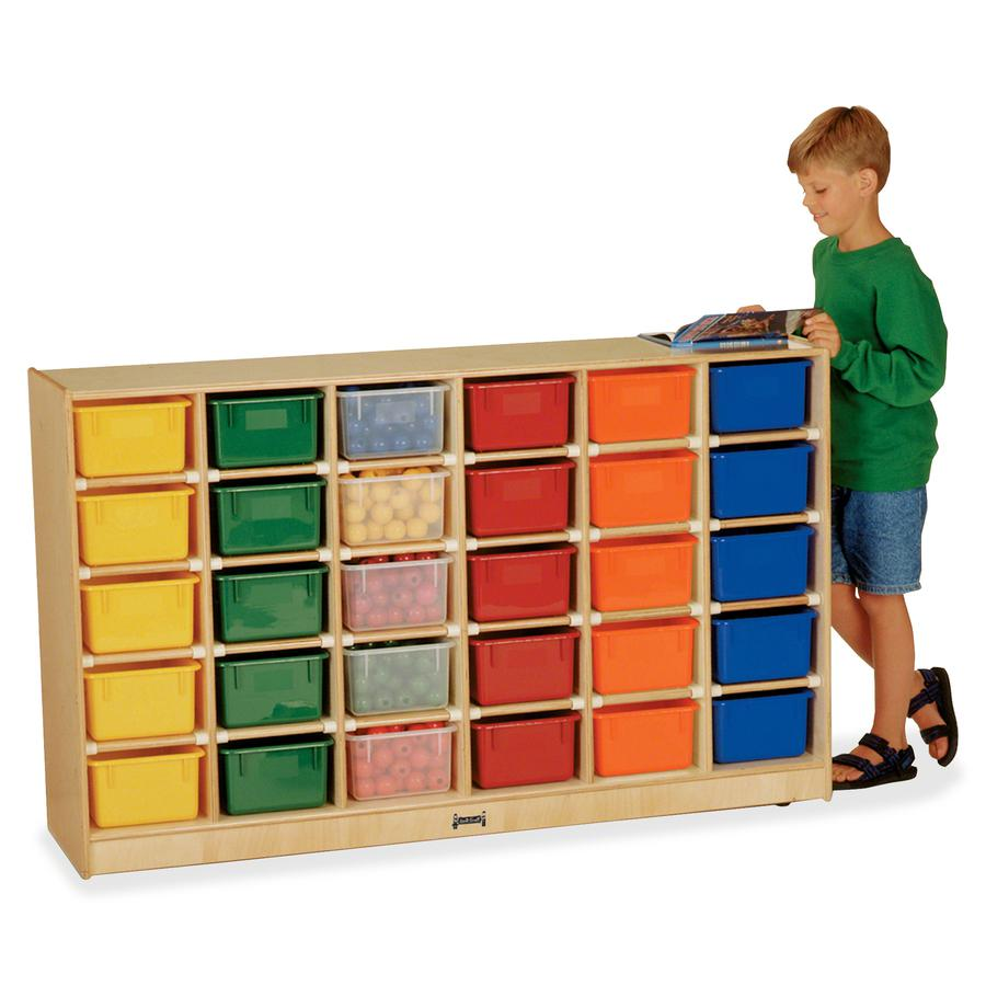 "Jonti-Craft 30 Cubbie-trays Mobile Storage Unit - 30 Compartment(s) - 35.5"" Height x 57.5"" Width x 15"" Depth - Baltic, Assorted Bin - Rubber, Acrylic - 1Each. Picture 4"