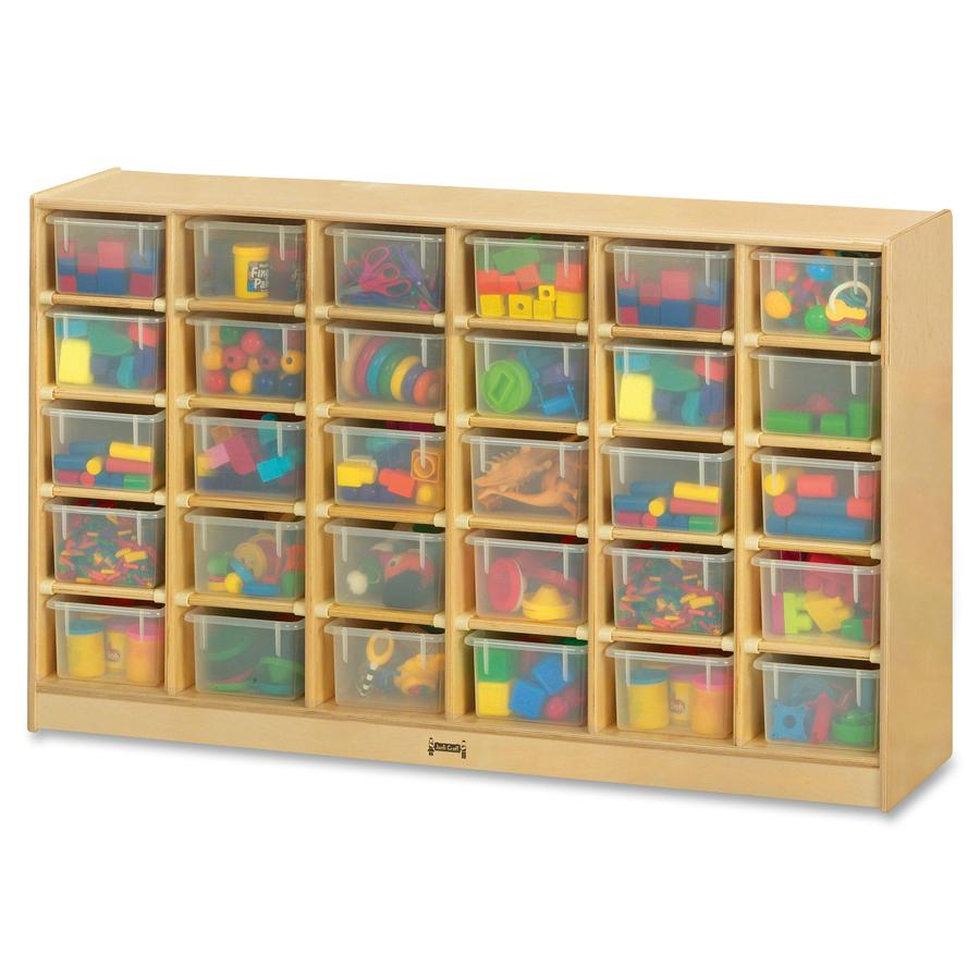 "Jonti-Craft Rainbow Accents 30 Cubbie-trays Mobile Storage Unit - 30 Compartment(s) - 35.5"" Height x 57.5"" Width x 15"" Depth - Durable, Non-yellowing - Baltic, Clear Bin - Rubber, Acrylic - 1 Each. Picture 2"