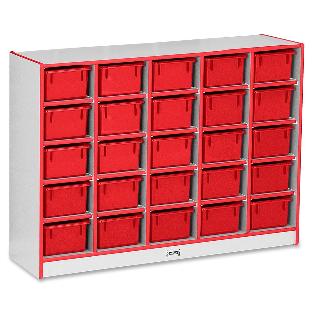 "Rainbow Accents Rainbow Accents Cubbie-trays Storage Unit - 25 Compartment(s) - 35.5"" Height x 48"" Width x 15"" Depth - Red - Rubber - 1Each. Picture 3"
