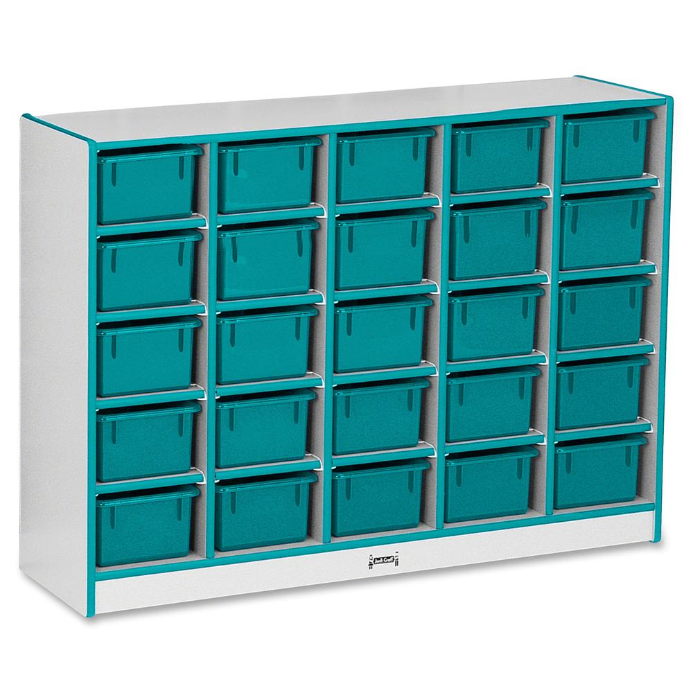 """Rainbow Accents Rainbow Accents Cubbie-trays Storage Unit - 25 Compartment(s) - 35.5"""" Height x 48"""" Width x 15"""" Depth - Teal - Rubber - 1Each. Picture 3"""