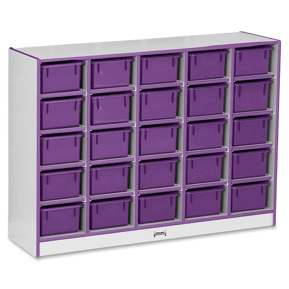 "Rainbow Accents Rainbow Accents Cubbie-trays Storage Unit - 25 Compartment(s) - 35.5"" Height x 48"" Width x 15"" Depth - Purple - Rubber - 1Each. Picture 2"