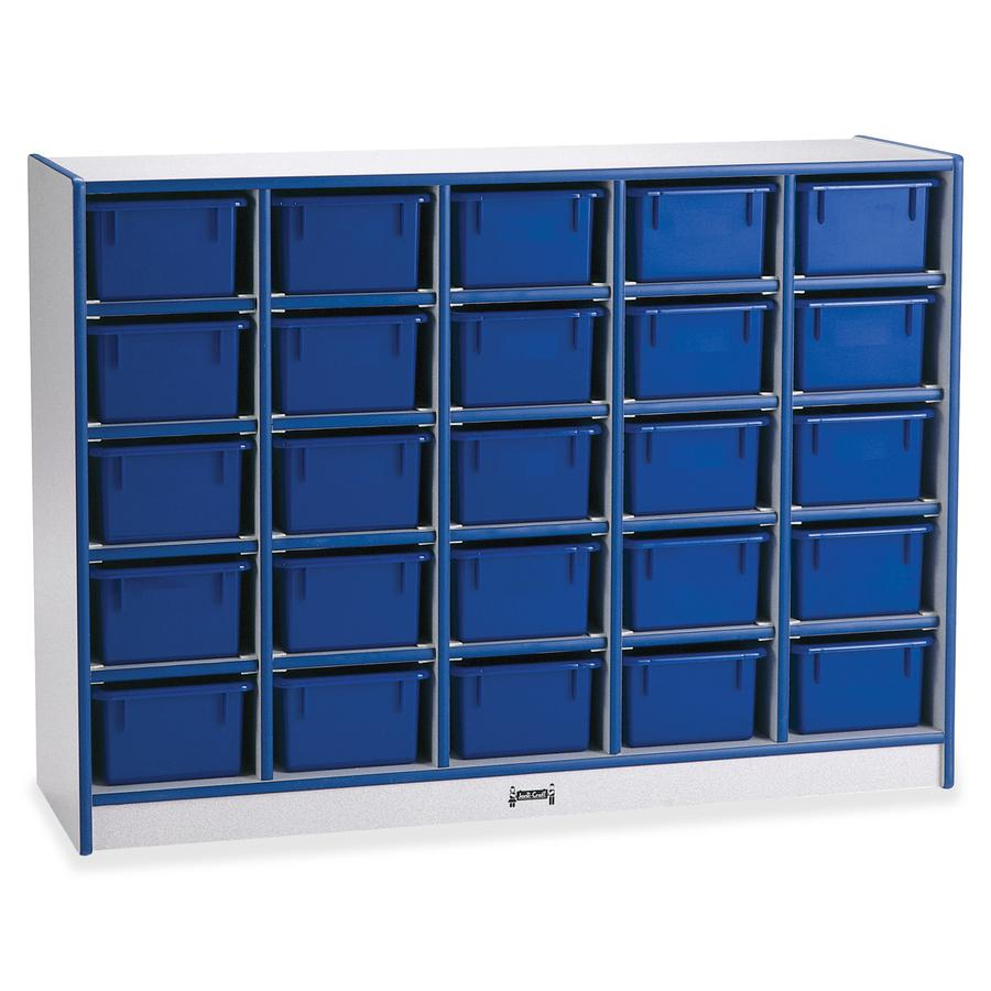 """Rainbow Accents Rainbow Accents Cubbie-trays Storage Unit - 25 Compartment(s) - 35.5"""" Height x 48"""" Width x 15"""" Depth - Blue - Rubber, Wood - 1Each. Picture 4"""