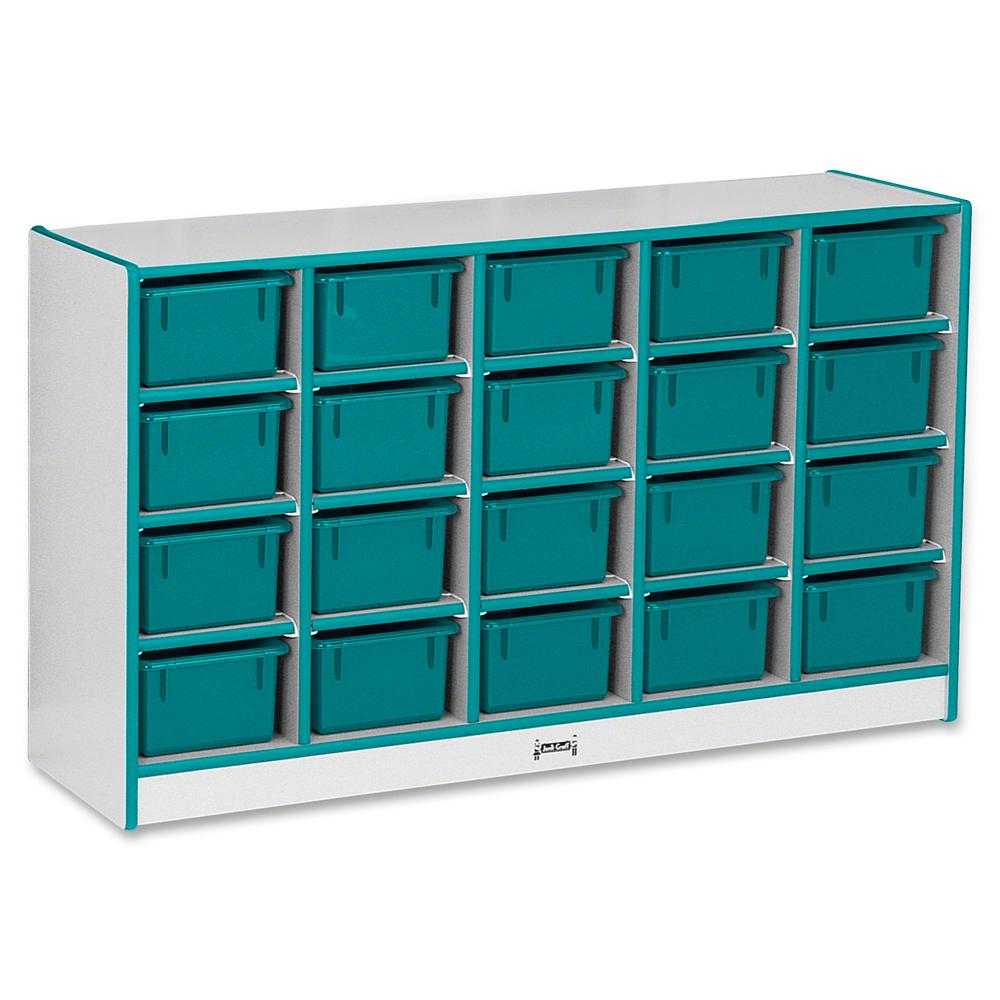 """Jonti-Craft Rainbow Accents Cubbie-trays Storage Unit - 29.5"""" Height x 48"""" Width x 15"""" Depth - Teal - Rubber - 1Each. Picture 2"""