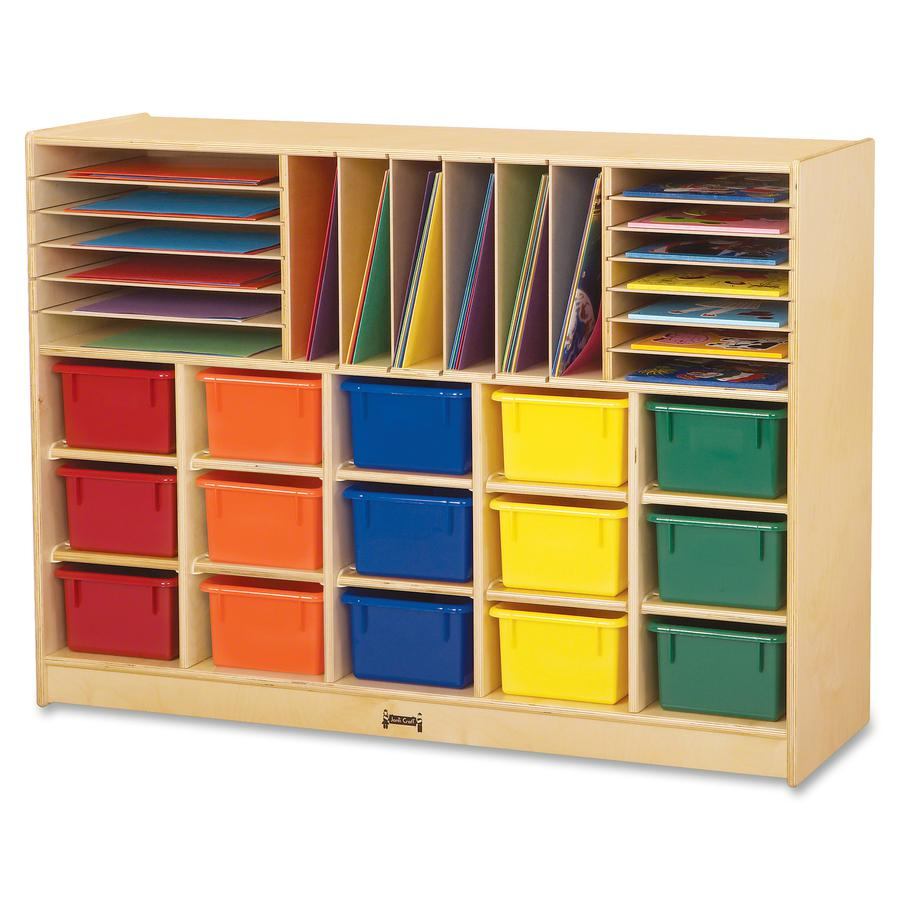 """Jonti-Craft Colored Tray Sectional Cubbie Storage - 35.5"""" Height x 48"""" Width x 15"""" Depth - Baltic - Acrylic, Rubber - 1Each. Picture 2"""
