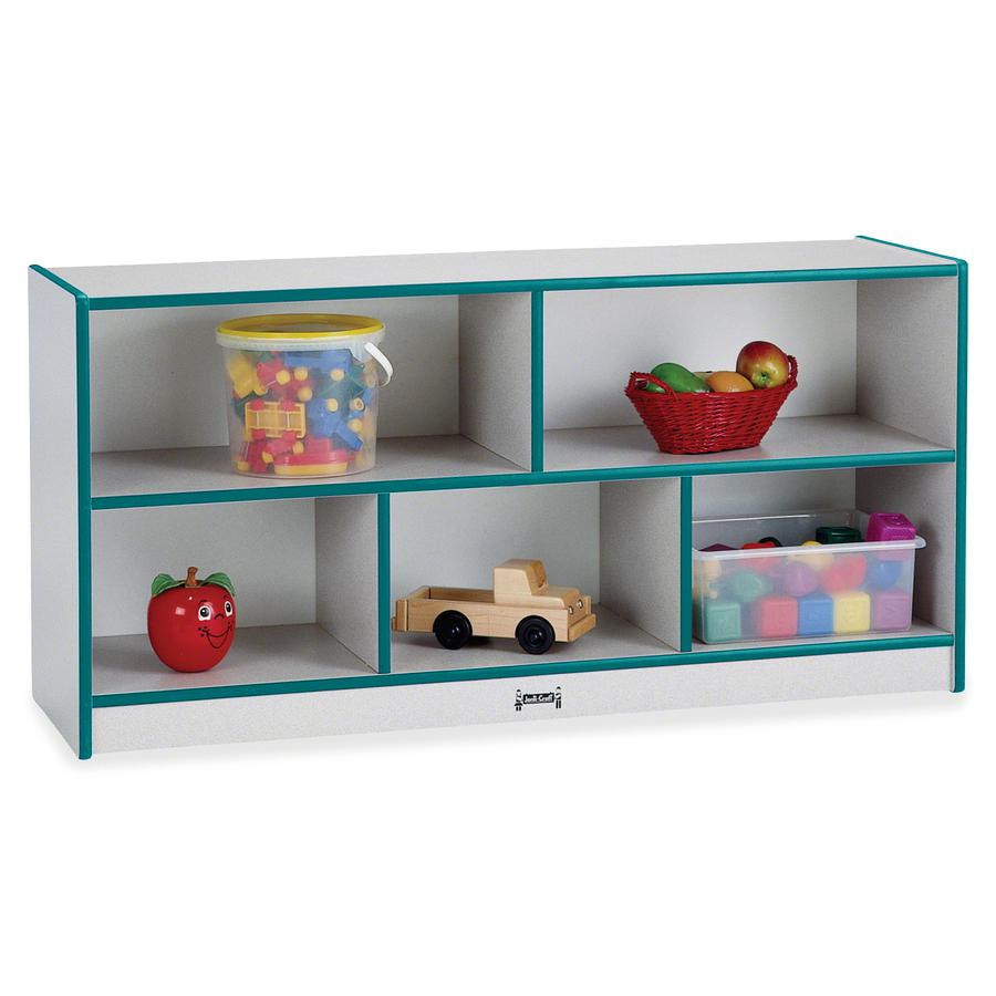 "Jonti-Craft Rainbow Accents Low Open Single Storage Shelf - 29.5"" Height x 48"" Width x 15"" Depth - Teal - Rubber - 1Each. Picture 3"