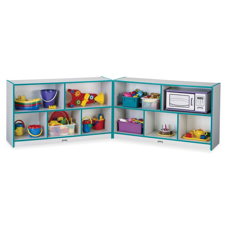 "Rainbow Accents Fold-n-Lock Storage Shelf - 35.5"" Height x 96"" Width x 15"" Depth - Teal - Hard Rubber - 1Each. Picture 3"