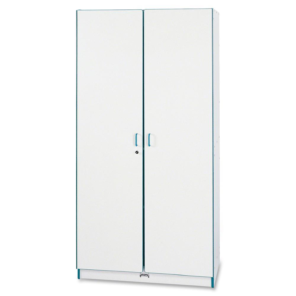 """Rainbow Accents Classroom Closet Deluxe - 36"""" x 24"""" x 72"""" - 3 x Shelf(ves) - Hinged Door(s) - Adjustable Shelf, Locking Door, Key Lock, Kick Plate, Chip Resistant, Rounded Edge, Hinged Door - Red - Gr. Picture 4"""