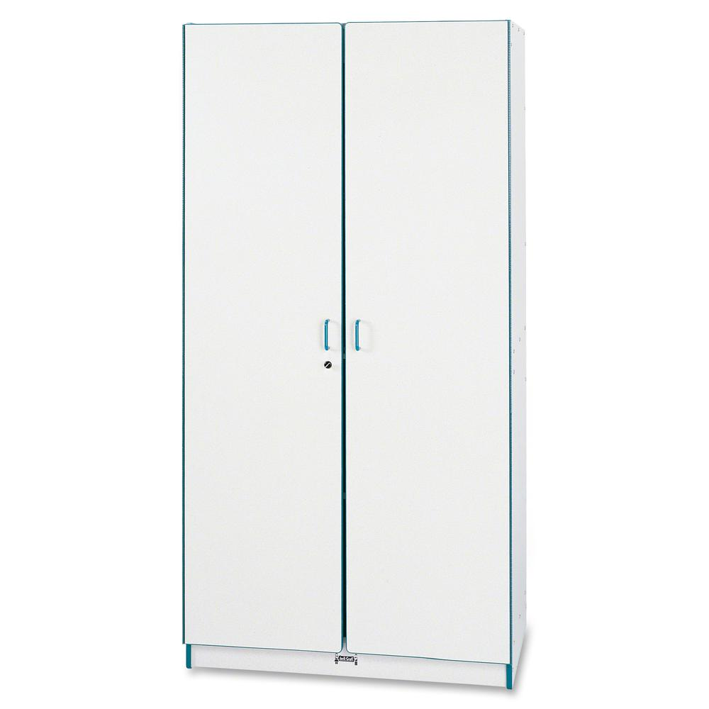 """Rainbow Accents Classroom Closet Deluxe - 36"""" x 24"""" x 72"""" - 3 x Shelf(ves) - Hinged Door(s) - Locking Door, Key Lock, Adjustable Shelf, Hinged Door, Kick Plate, Chip Resistant, Rounded Edge - Blue - G. Picture 3"""