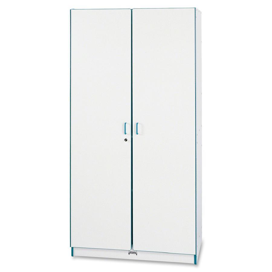 "Rainbow Accents Classroom Closet - 36"" x 24"" x 72"" - 3 x Shelf(ves) - Hinged Door(s) - Locking Door, Hinged Door, Chip Resistant, Rounded Edge, Adjustable Shelf - Teal - Freckled Gray Laminate. Picture 3"