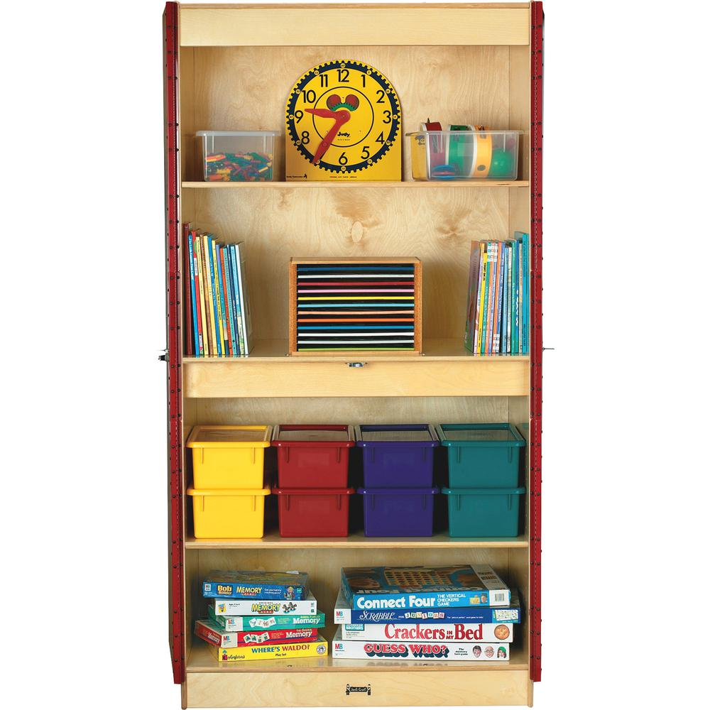 "Jonti-Craft Deluxe Classroom Closet - 36"" x 24"" x 72"" - Lockable, Adjustable Shelf, Kick Plate, Non-yellowing, Stain Resistant, Sturdy, Key Lock - Wood Grain - Baltic Birch Plywood. Picture 2"