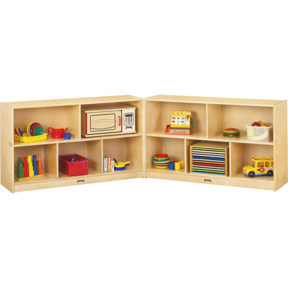 "Jonti-Craft Mobile Fold-n-Lock Open Shelf Unit - 29.5"" Height x 96"" Width x 15"" Depth - Floor - White, Wood Grain - Baltic Birch Plywood - 2 / Each. Picture 2"
