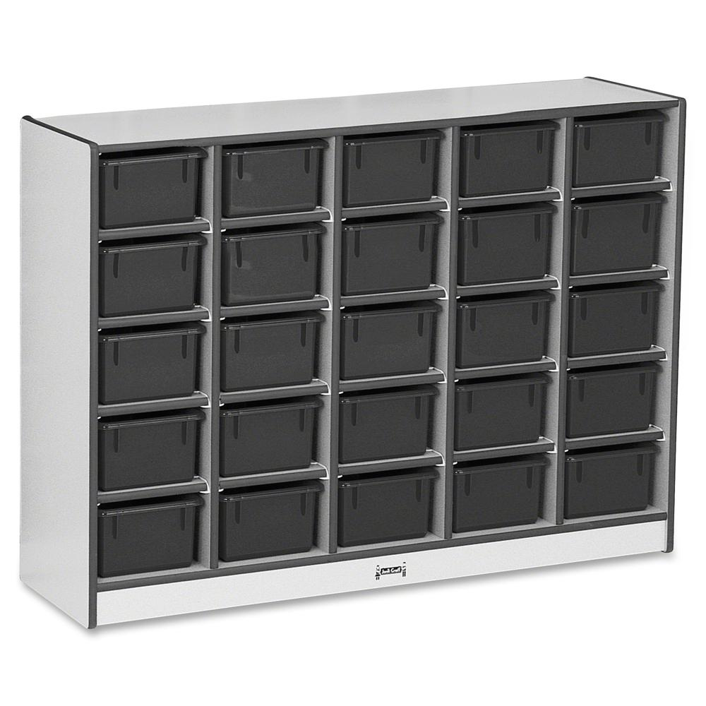 """Rainbow Accents Rainbow Accents Cubbie-trays Storage Unit - 25 Compartment(s) - 35.5"""" Height x 48"""" Width x 15"""" Depth - Black - Rubber - 1Each. Picture 4"""