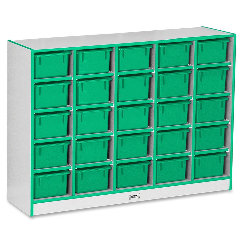 "Jonti-Craft Rainbow Accents Cubbie-trays Storage Unit - 25 Compartment(s) - 35.5"" Height x 48"" Width x 15"" Depth - Green - Rubber - 1Each. Picture 3"