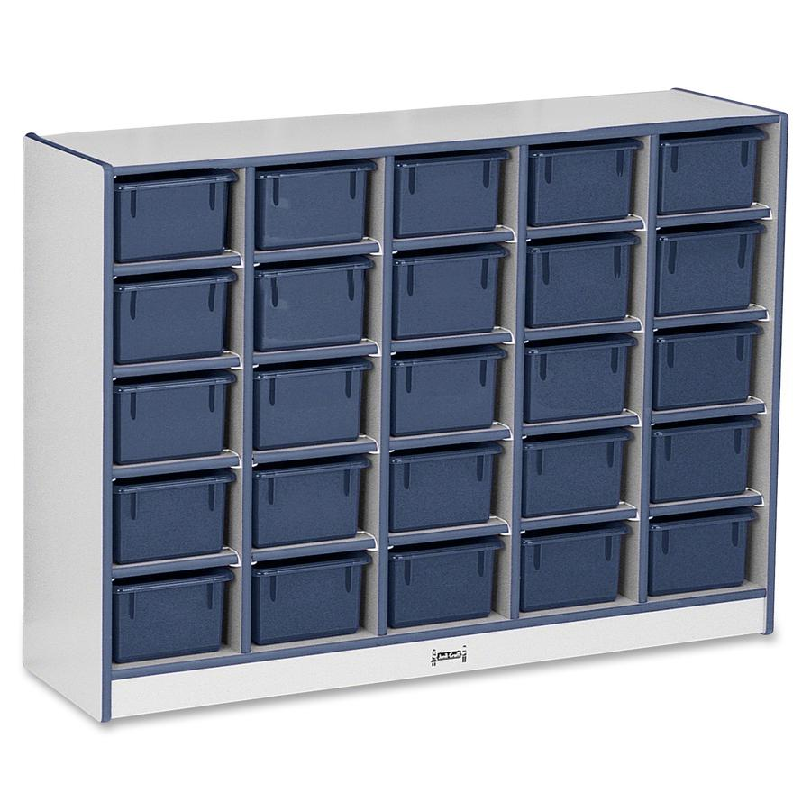 "Rainbow Accents Rainbow Accents Cubbie-trays Storage Unit - 25 Compartment(s) - 35.5"" Height x 48"" Width x 15"" Depth - Navy - Rubber - 1Each. Picture 4"