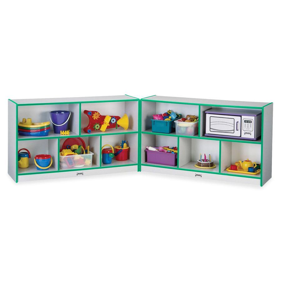 "Rainbow Accents Fold-n-Lock Storage Shelf - 35.5"" Height x 96"" Width x 15"" Depth - Green - Hard Rubber - 1Each. Picture 4"