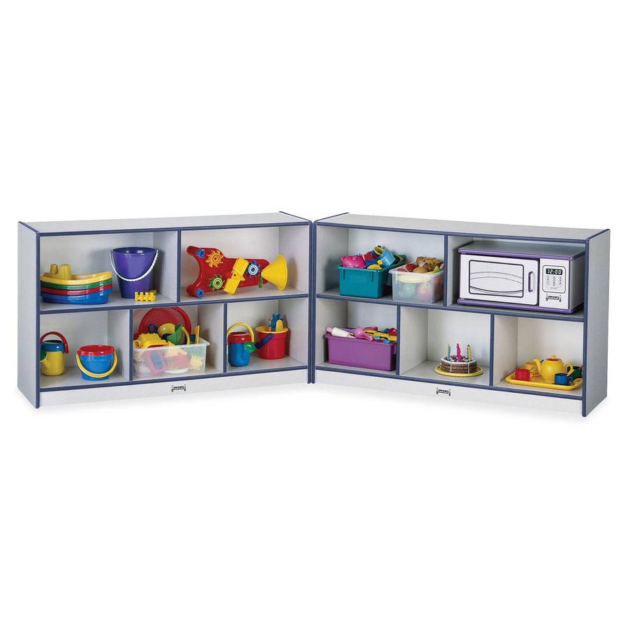 "Jonti-Craft Rainbow Accents Fold-n-Lock Storage Shelf - 29.5"" Height x 96"" Width x 15"" Depth - Navy, Navy Blue - Hard Rubber - 1Each. Picture 3"