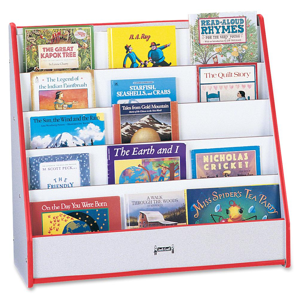 """Rainbow Accents Laminate 5-shelf Pick-a-Book Stand - 5 Compartment(s) - 1"""" - 27.5"""" Height x 30"""" Width x 13.5"""" Depth - Red - 1Each. Picture 3"""