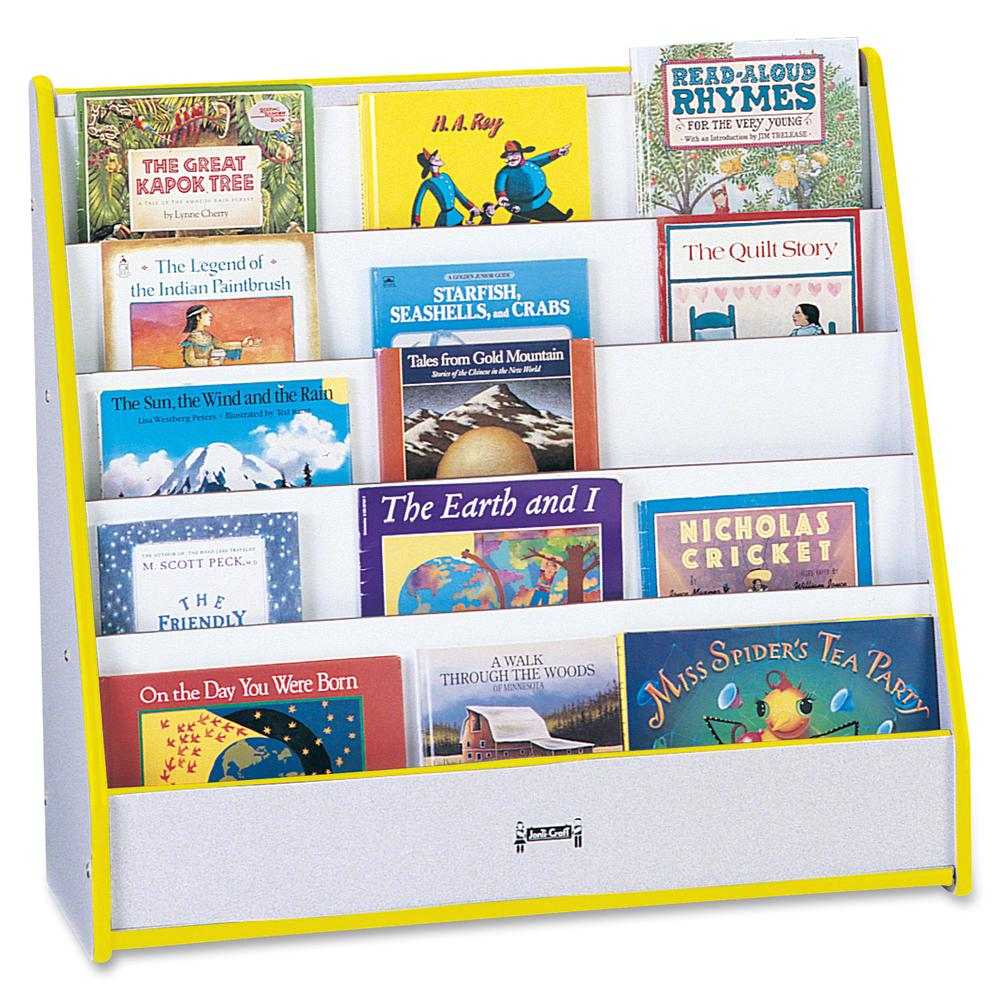 "Rainbow Accents Laminate 5-shelf Pick-a-Book Stand - 5 Compartment(s) - 1"" - 27.5"" Height x 30"" Width x 13.5"" Depth - Yellow - 1Each. Picture 4"