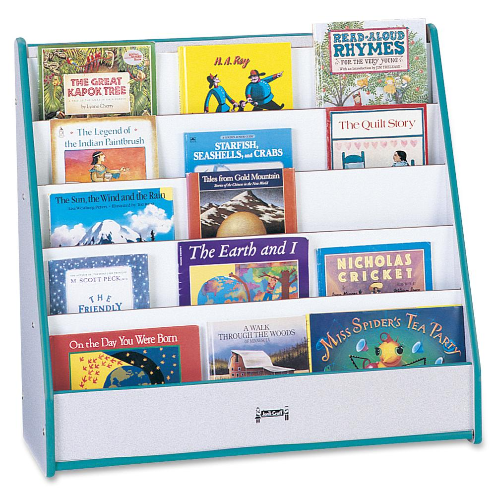 "Rainbow Accents Laminate 5-shelf Pick-a-Book Stand - 5 Compartment(s) - 1"" - 27.5"" Height x 30"" Width x 13.5"" Depth - Teal - 1Each. Picture 2"