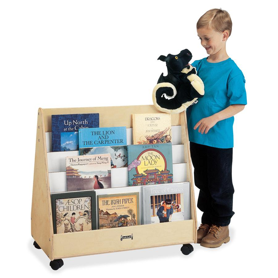 """Jonti-Craft Double Sided Mobile Pick-a-Book Stand - 8 Compartment(s) - 1"""" - 30"""" Height x 30"""" Width x 16.5"""" Depth - Baltic - Birch Plywood - 1Each. Picture 3"""