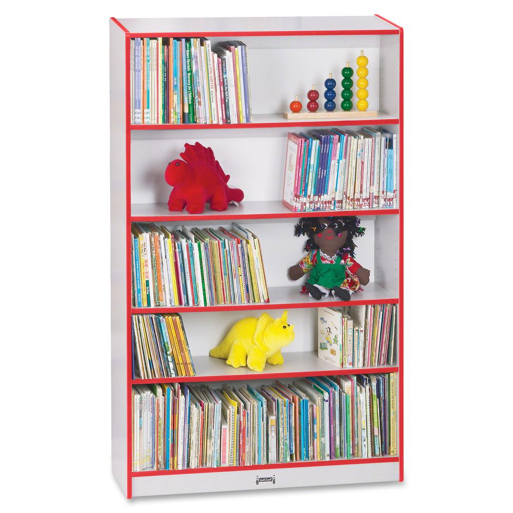 "Rainbow Accents 60"" Bookcase - 59.5"" Height x 36.5"" Width x 11.5"" Depth - Red - 2 / Each. Picture 2"
