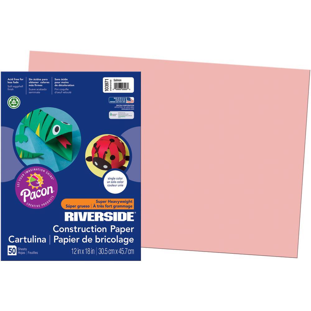 "Riverside Construction Paper - Classroom, Art, Multipurpose - 18"" x 12"" - 50 / Pack - Salmon - Groundwood. Picture 3"