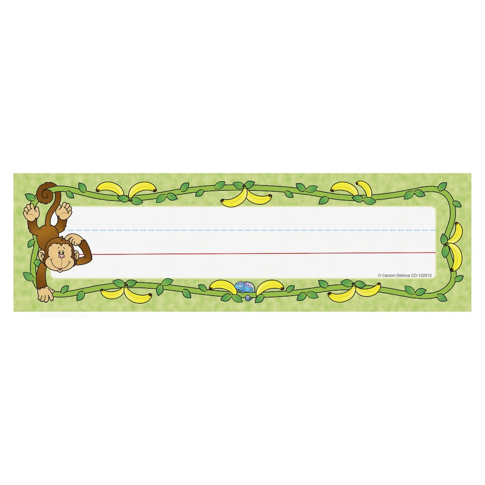 """Carson-Dellosa PreK-Grade 5 Student Nameplates - Learning Theme/Subject (Monkey) Shape - 0.31"""" Height x 2.88"""" Width x 9.50"""" Length - Multicolor - 36 / Pack. Picture 2"""